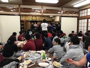 平の菩提院にて行われた早大アメフト部BigBearsとの交流会。