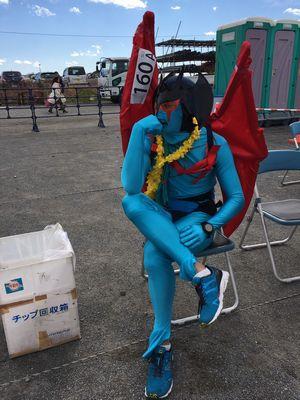 12:10 デビルマン無事ゴール!神奈川より第2回目から参加!1年で1番楽しみなサンシャインマラソン!と語ってくれました!