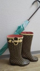 SUGAさんの写真と完全にかぶりました(笑)傘は最近色に一目ぼれして買ったものです。そして、長ぐつは、年代物・・・。かれこれ10年選手です(汗)お気に入りの長ぐつです。