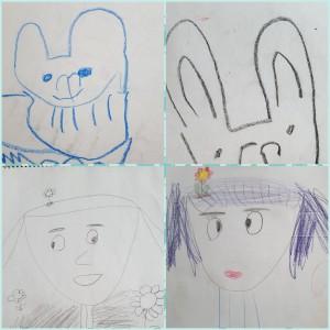 幼少期の橘画伯の作品です。 上の二枚はウサギです。・・・どう見てもウサギでしょ? そして、下の二枚は自画像です。子どもの頃に書いていた自画像は必ず頭にお花が咲いていました(笑) 絵心がないのは昔から・・・(悲)。