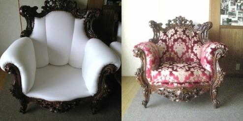 アンティーク椅子の張替え。左は座、背中、肘の生地をはがしウレタンで補修したところ、右は張り替えが完了したものです。 【写真提供インテリア工房まがりやま】