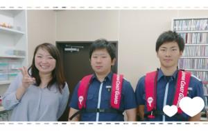 海の事故ゼロキャンペーン活動のPRに来て下さいました福島海上保安部の森山さん(中央)と道譯さん(左) 7月16日から31日までがキャンペーン期間ですが、もちろん期間が過ぎても、ルールを守り、安全にマリンレジャーを楽しんで最高の夏にしましょうね!!