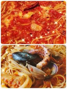 昨日のアイテムはトマトチーズ鍋。 今日はブイヤベース。 どっちもトマトベースで、トマト好きな私はどっちも好き♡ 私のスマホにパスタバージョンがありました。 上が糸引きチーズのトマトスパゲティ。 下の写真が魚貝のトマトスパゲティ(笑) どんだけ好きなんだ(笑)