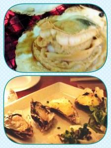 上は数年前のBBQの時の大ホタテ! 下は牡蠣食べ放題イベントでの牡蠣♡