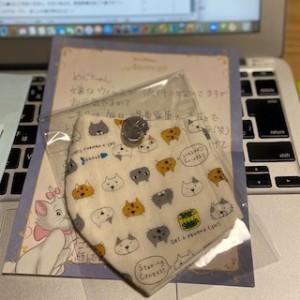 東京の友人が、手作りの布マスクを送ってくれました。