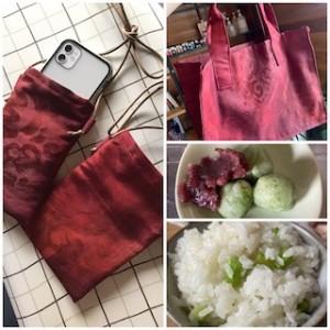 古い帯でスマホポシェットと書類入れのバッグを作りました!さらによもぎ団子やらアスパラご飯やら・・・