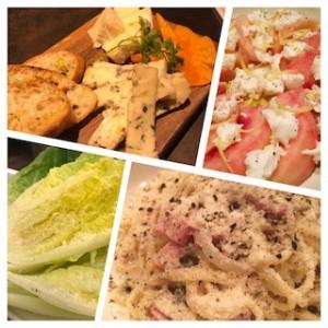 スマホの写真ホルダから探し出したチーズ料理の写真。左上から時計回りにチーズ盛り合わせ、桃モッツァレラ、カルボナーラ、ロメインレタスのシーザーサラダ。