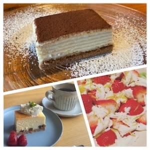 上はティラミス、左下はチーズケーキ、右下がいちごモッツァレラ。