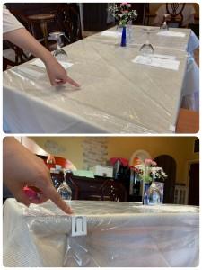 コリーナには一般の方が利用できるイタリアンダイニングもあります。 こちらでは一組ごとにテーブル上のシートをまるっと取り換えています。