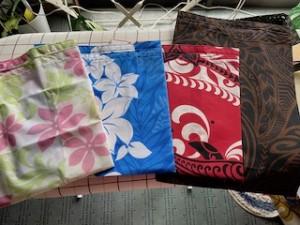 暇に任せて自宅にあったハワイアンな生地で、コンビニ用のマイバッグを作りました!