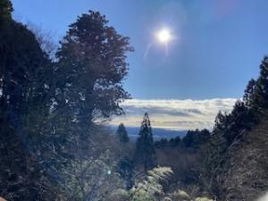 元旦のお日様と、遠くに輝く太平洋。そしてお日様の左側に写っているのが御神木の龍灯杉です。