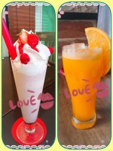 【番外編チョイス】 とあるお店で頂いたイチゴのスムージー🍓vsとある喫茶店で頂いたフレッシュオレンジジュース🍊 あなたはどっちが飲みたい?!