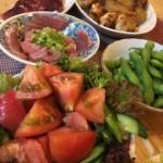 カツオ刺身の夕飯