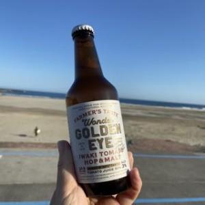 四倉海岸でパチリ。もちろん飲んでいません。